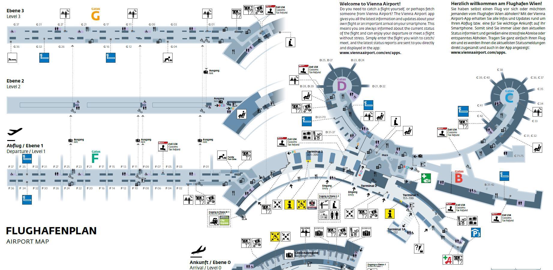 Flughafen Wien Karte Vienna Austria Lageplan Osterreich