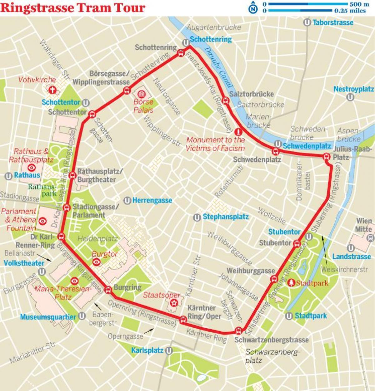 Vienna ring tram map - Vienna ring tram route map (österreich)